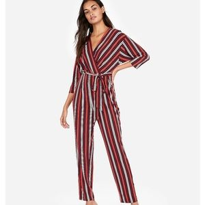 Express stripe sash jumpsuit